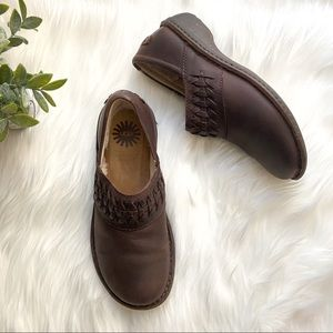 UGG Women's Brown Leather Slip On Shoes
